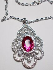 58mm sparkly pink + clear crystals pendant - 22'' chain
