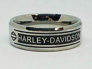 Harley Davidson Men's H D Bar Script Stainless Steel Band Ring Size 9