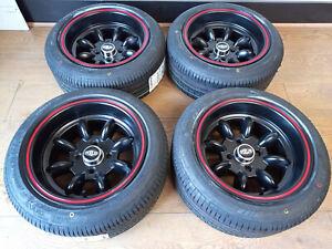 "7""x13"" Superlight Black/red rim  Wheels Classic Mini + 175/50x13 Nank Tyres (x4)"