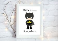 personalised BATMAN superhero a4 gloss Print nursery picture unframe  1