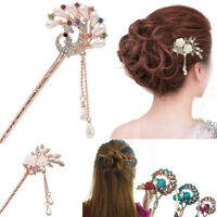 Women Chinese Style Cristal Rhinestone Hair Stick Chopsticks Hairpin Chignon Pin