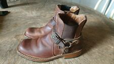 Harley Davidson SIZE 7.5 Riding Boots Womens Brown Leather Zipper Elastic Buckle