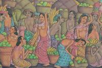 Balinese Painting Village Life hand painted canvas Ubud Acrylic art signed