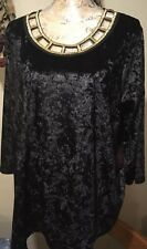 By 'French Blue' Womans Plus Size 2X Crushed Velvet Style Top NWT