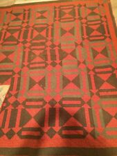 Vintage hand sewn Bow Tie Quilt done in Reds, Browns and Golds,  1930's