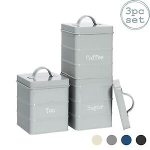 3x Tea Coffee Sugar Canisters Storage Set Kitchen Jars Vintage Tin Metal Grey