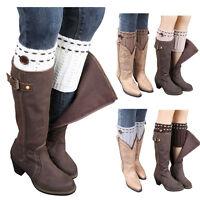 Women Winter Warmer Button Knit Crochet Knee Slouch Leg Boot Toppers Cuffs Socks