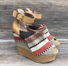 Steve Madden Kennyya Wedge Sandals Women's 9M Brown Upholstered Striped Shoes