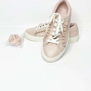 Tory Burch Sport Ruffle Leather Sneakers Pink Size 7