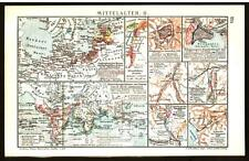 Antique map. HISTORIC MAP. MIDDLE AGES. I & II. Circa 1911