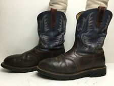 VTG MENS ARIAT ATS STEEL TOE WORK BROWN BOOTS SIZE 10.5 D