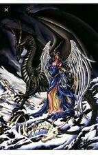 "Nene Thomas Omen Print Fairy Black Dragon Angel Limited Edition Signed 36x26"""