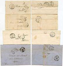 FRANCE 4 COVERS 1850-65 CHIFFRE TAXE 25c + 30c REIMS TOULON LAON BAR Sur SEINE