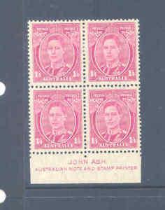 AUSTRALIA PREDECIMAL 1938 KGVI DEFS ASH IMPRINT BLOCK VERY FINE MNH/MLH.......17