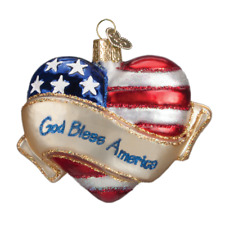 God Bless America Heart Glass Ornament Old World Christmas NEW IN GIFT BOX