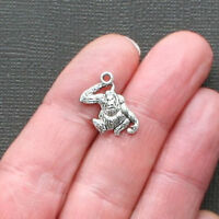 10 Gorilla Charms Antique Silver Tone Just Adorable 2 Sided - SC1280