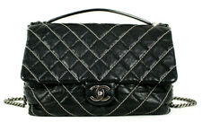 CHANEL 2016 Black Implicit Chevron Stitch Quilted Calfskin Large Flap Bag