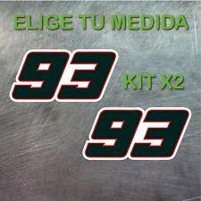 2x PEGATINA MARC MARQUEZ  NUMERO 93 MM93 MOTOGP GP VINILO STICKER DECAL NEGRO