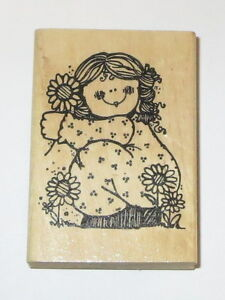 """Girl Daisies Rubber Stamp Daisy Flowers Garden Hooks Lines Inkers 3"""" High"""