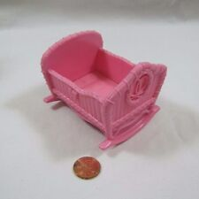 FISHER PRICE Loving Family PINK BABY CRADLE from TWIN TIME DOLLHOUSE Nursery