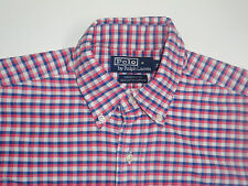 """Ralph LAUREN PINK & BLUE cheques Camisa 15"""" Yarmouth Algodón Oxford-S2376"""