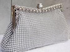 Silver Sparkly Crystal Diamante Wedding Bridal Prom Clutch Handbag Purse Bag 139