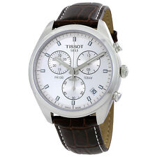 Tisot PR100 Chronograph Silver Dial Brown Leather Mens Watch T1014171603100