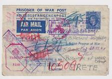 British Army Prisoner of War Crete 1941 POW Returned Red Cross Censor Cover