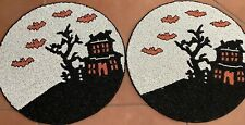 """Cynthia Rowley Assorted Halloween 🎃☠️👻 15"""" Round Beaded Placemats NWT Set Of 6"""