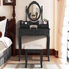 Black Adjustable Oval Mirror Makeup Dressing Table Desk&Stool Set with 4 Drawers