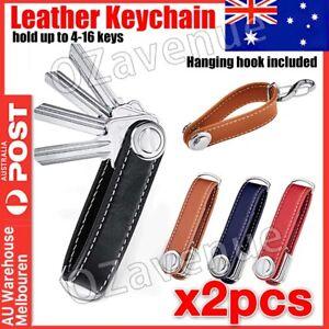 2x Genuine Leather Key Wallet Holder Organizer Folder Clip Car Keyring Key Chain