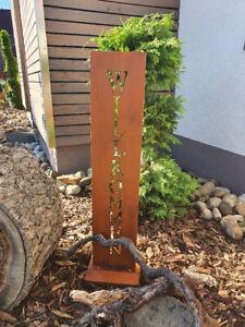 Rostschild Türschild Metallständer Gartenschild Deko aus Rost Edelrost Wilkommen