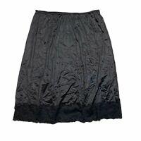 Vintage 70s Nylon Lace Trim Half Slip Underskirt Black Womens L Large