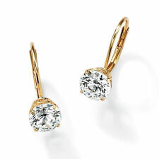 1.0 ct Brilliant Round Drop Dangle Leverback Earrings Real Solid 14k Yellow Gold