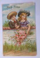 """""""Geburtstag, Kinder, Mode, Hut, Mauer, Blumen"""" 1907, Glanzkarte  ♥"""