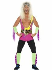 ADULT MENS WWE RETRO WRESTLER COSTUME WITH BODYSUIT STAG DO FANCY DRESS OUTFIT
