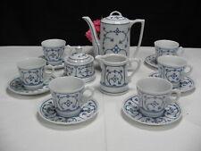 Altes 15tlg Jäger Porzellan Mokkaservice Kaffeeservice indisch Blau Strohblume