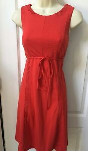A Pea In The Pod Woman's Maternity Size Small 4 Red Sleeveless Belted Dress