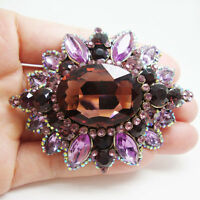Elegant Purple Flower Pendant Gold-tone Woman Brooch Pin Rhinestone Crystal