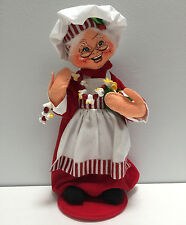 "Annalee Mrs Chef Santa Stringing Popcorn 13"" Doll 401111 Mint 2011"