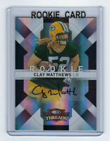 2009 PACKERS Clay Matthews signed ROOKIE card Donruss Threads #144 AUTO RC /199