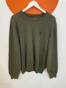 Men's Timberland Knit Knitted Wool Blend Jumper Top Green UK Size XL X-Large