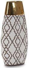 30cm Tall Ceramic Brown White & Gold Flower Vase  Design Bottle Oval Vase