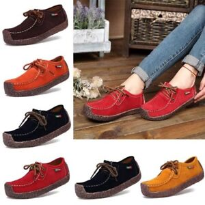 Women Lace-up Suede Leather Shoes Loafers Flats Boat Casual Shoes Moccasin New