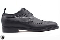 Handmade Men's Genuine Black Grainy Leather Brogue Oxford Lace Up Wingtip Shoes