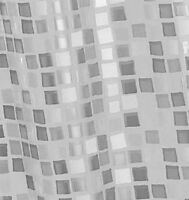 CROYDEX PVC WATERPROOF BATHROOM SHOWER CURTAIN SILVER MOSAIC PATTERN