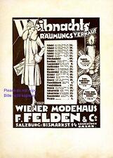 De Vienne Maison de Mode Felden Salzbourg Publicité 1926 Noël SPF Liquidation du stock