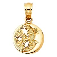 Fancy Charm Solid 14k Italian Real Gold Yellow Sun Moon Stars Round 10mm Pendant