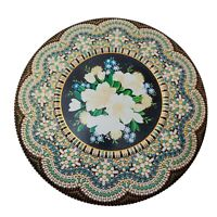 Vintage Mosaic-Look Embossed Dutch Metal Cookie Holland Biscuit Tin Mount Vernon