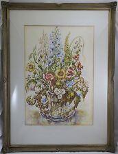 Kaufhold Aquarell Blumen / Wiesenblumen in Glas Vase , mitte 20. Jh.